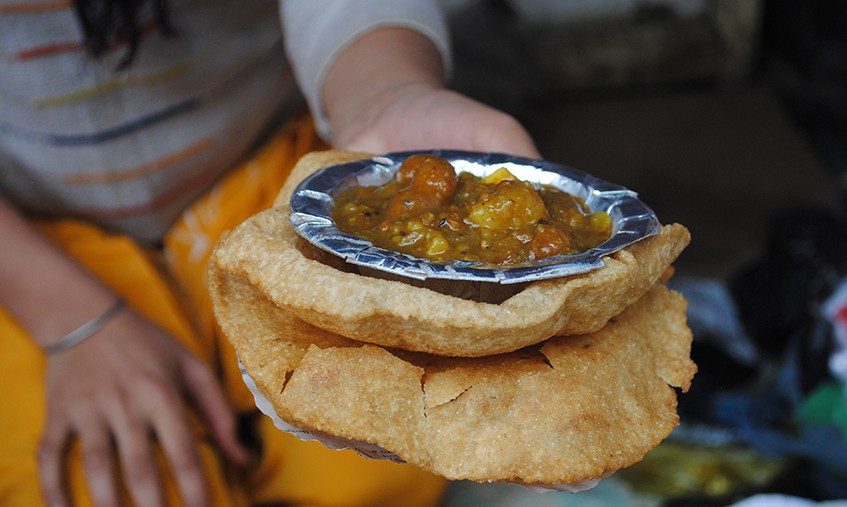 Kachori-Sabzi being served in a style very different to versions we are used to in Delhi and Rajasthan